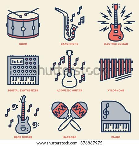 Assorted Musical Instruments. Line Design Vintage Icon Set. Vector Illustrations.