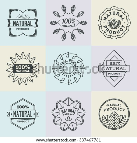 Assorted Natural Product Insignias Logotypes Set 1. Line Art Vector Elements.