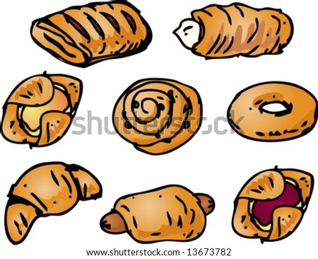 Assorted pastries and sweet baked breads illustration