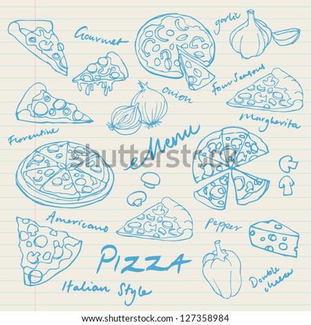 Assorted pizza vector doodles - stock vector