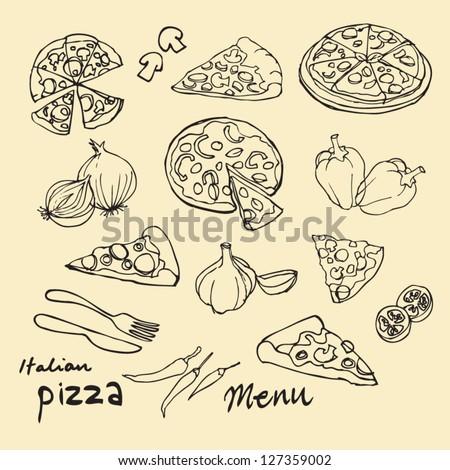 Assorted pizza vector doodles