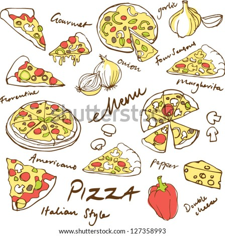 Assorted pizza vector illustrations