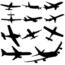 assorted plane silhouettes arriving and departing illustration