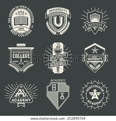 Assorted retro design insignias high education logotypes set 1. Vector vintage elements.