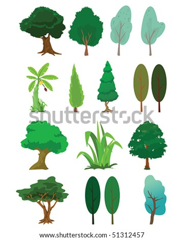 Assorted tree of nature illustration in vector - stock vector