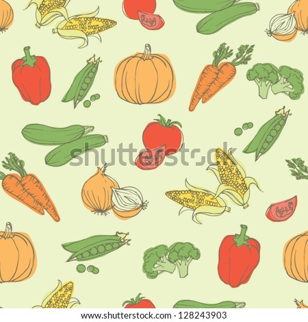 Assorted vegetables seamless pattern #128243903