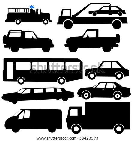 assorted vehicle silhouettes illustration car bus truck