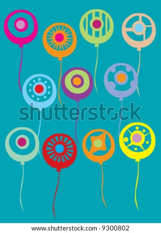 Assortment of abstract colorful balloons