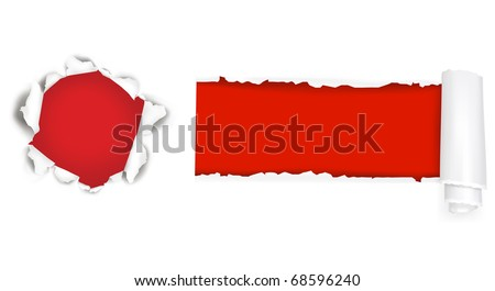 Assortment of ripped white paper against a red backgrounds. Vector illustration. - stock vector