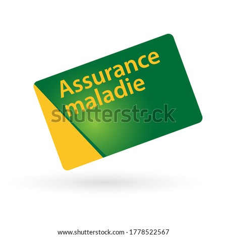 Assurance maladie, Health Insurance in French language on Card Photo stock ©