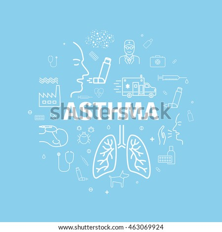 Asthma Symptoms and Symbols. Asthma line icons in a circle. Linear poster. Vector illustration.