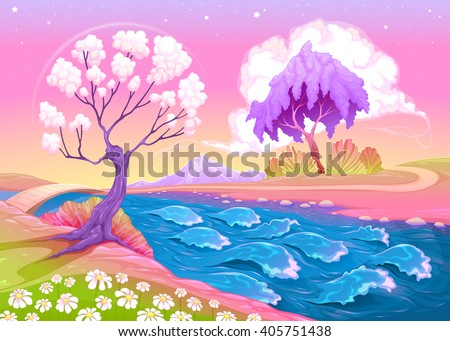 astral landscape with trees and