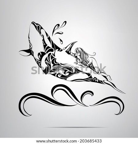 Stock Photo Astride a killer whale. Vector illustration