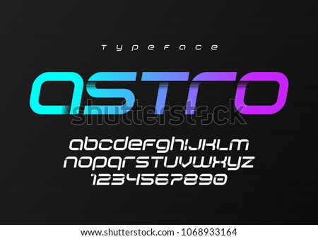 Astro futuristic minimalist display font design, alphabet, typeface, letters and numbers, typography. Swatch color control.