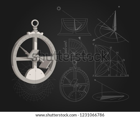 Astrolabe. Astronomy lessons. Astronomy. Navigation. Vintage tools. Wind rose. Lectures at University.