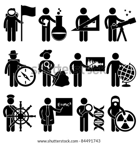 Astrologer Spaceman Chemist Mathematician Astrologer Explorer Archaeologist Seismologist Cartographer Geographer Sailor Professor Forensic Science Nuclear Job Occupation Sign Pictogram Symbol Icon