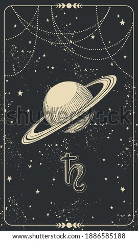 Astrological chart with planet Saturn and cosmic black background with stars, hand drawn divination illustration, vintage design. Vector postcard with astrological symbol