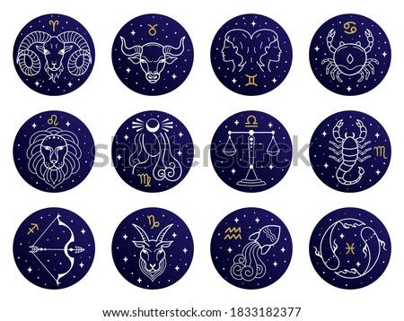 Astrological zodiac signs. Aries, taurus, leo and gemini horoscope, virgo, scorpio, libra, aquarius zodiac, sagittarius, pisces, capricorn, cancer vector symbols. Constellations on blue