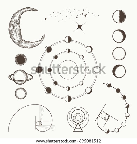 Astrology and alchemy, symbols and signs of astrology, lunar phases, esoteric planets, moon, golden ratio. Sacral geometry hand drawn medieval elements collection