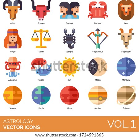 Astrology icons including aries, taurus, gemini, cancer, leo, virgo, libra, scorpio, sagittarius, capricorn, aquarius, pisces, sun, moon, mercury, venus, earth, mars, jupiter, saturn.