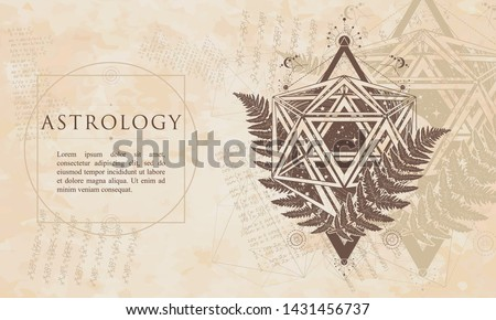 Astrology. Icosahedron and fern. Mathematical esoteric symbol. Alchemy philosophers stone concept. Renaissance background. Medieval manuscript, engraving art