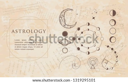 Astrology. Lunar phases, esoteric planets, moon, golden ratio. Renaissance background. Medieval manuscript, engraving art
