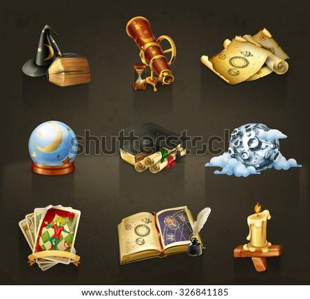 Stock Photo Astrology, set of vector icons dark
