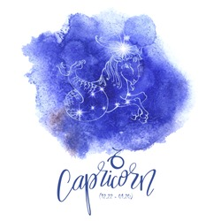 Astrology sign Capricorn on blue watercolor background with modern lettering. Zodiac constellation with  shiny star shapes. Part of zodiacal system and ancient calendar. Part of big collection