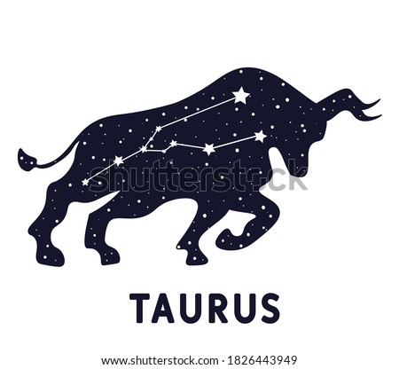 Astrology sign Taurus. Zodiac constellation with shiny star shapes. Part of zodiacal system and ancient calendar.  Sign of the zodiac Taurus. Constellation of Taurus. Vector illustration.