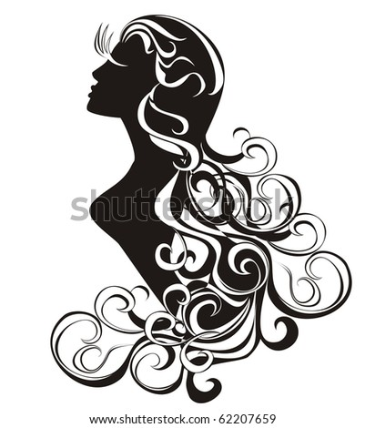 stock vector : Astrology sign - Virgo. tattoo beauty girl with curling hair.