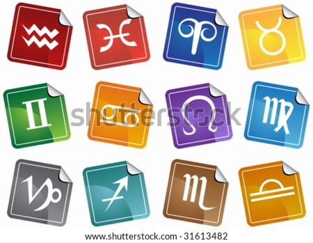 Astrology Sticker Icon Set : Horoscope themed buttons.
