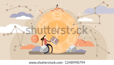 Astrology vector illustration. Flat zodiac constellation knowledge symbols. Abstract ancient calendar concept with all character collection. Mythology esoteric culture ornaments learning from nature.