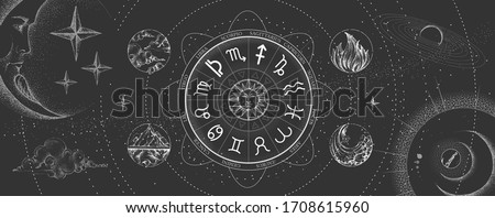 Astrology wheel with zodiac signs on outer space background. Four elements. Star map. Horoscope vector illustration Stock photo ©