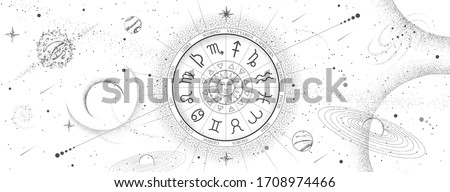 Astrology wheel with zodiac signs on outer space background. Star map. Horoscope vector illustration Stock photo ©