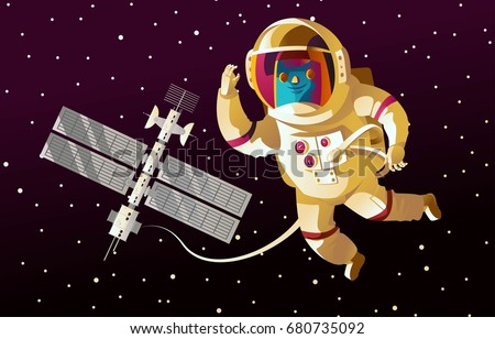 astronaut and space station