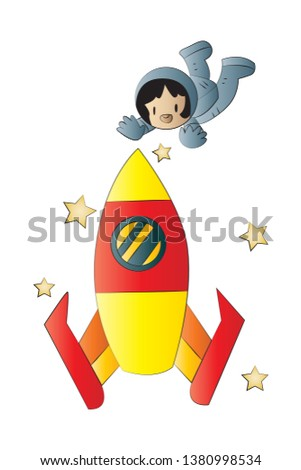 Astronaut and the rocket in space. The rocket and an astronaut. Cartoon astronaut in space. Astronaut in a spacesuit.