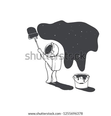 astronaut artist creates the universe by paints.Space design.Vector illustration