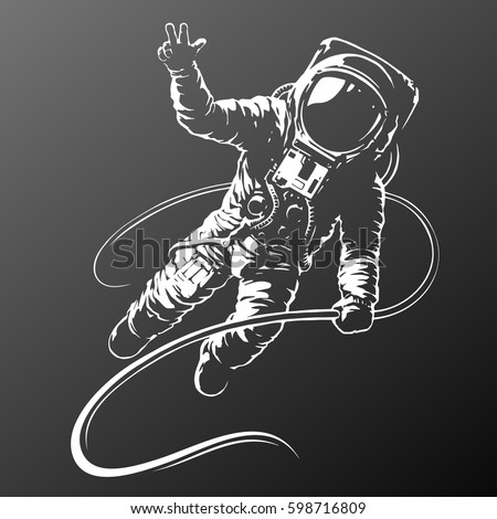 astronaut black and white illustration