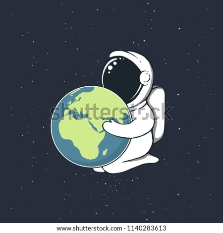Astronaut boy keeps Earth in the hands.Space vector illustration