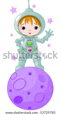 Astronaut Boy wearing a spacesuit on the moon