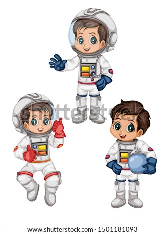 Astronaut Cartoon Characters in Outer Space Suit. Set with Standing and Flying Astronaut kids isolated on White Background. Cartoon Boys Wearing Astronaut Costume. Vector Illustration for Books and Ga
