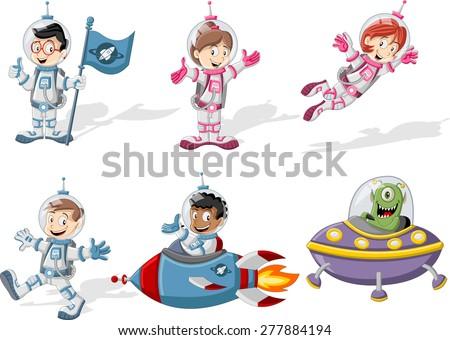 astronaut cartoon characters in