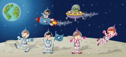 Astronaut cartoon characters on the moon with a alien spaceship