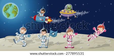 astronaut cartoon characters on