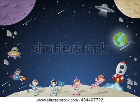 astronaut cartoon characters on