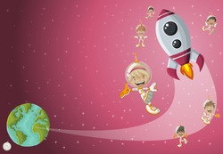 Astronaut cartoon children flying in the space with a futuristic rocket shuttle. Spaceship around the earth planet and moon.