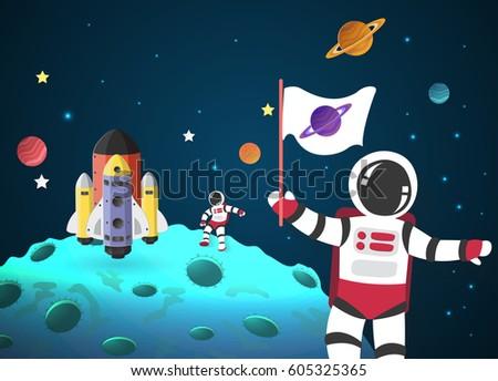 astronaut cartoon on the moon