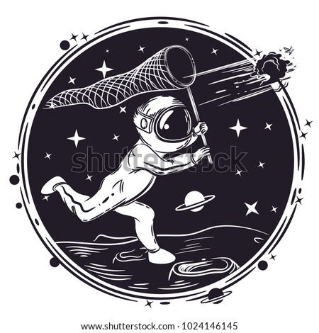 Astronaut catches a comet in the network. Vector illustration on a theme of astronomy. Cosmic background.