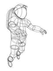 Astronaut concept. Vector rendering of 3d. Wire-frame style. The layers of visible and invisible lines are separated