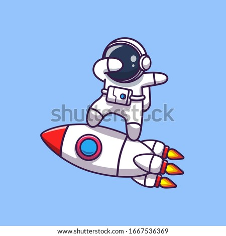 Astronaut Dabbing On Rocket Vector Icon Illustration. Spaceman Mascot Cartoon Character. Science Icon Concept Isolated. Flat Cartoon Style Suitable for Web Landing Page, Banner, Flyer, Sticker, Card